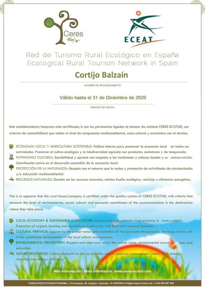 certificado casas rurales ecológicas